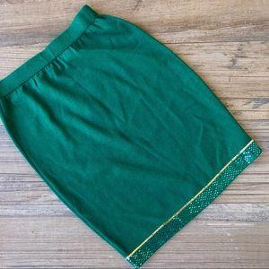St John emerald green knit evening pencil skirt